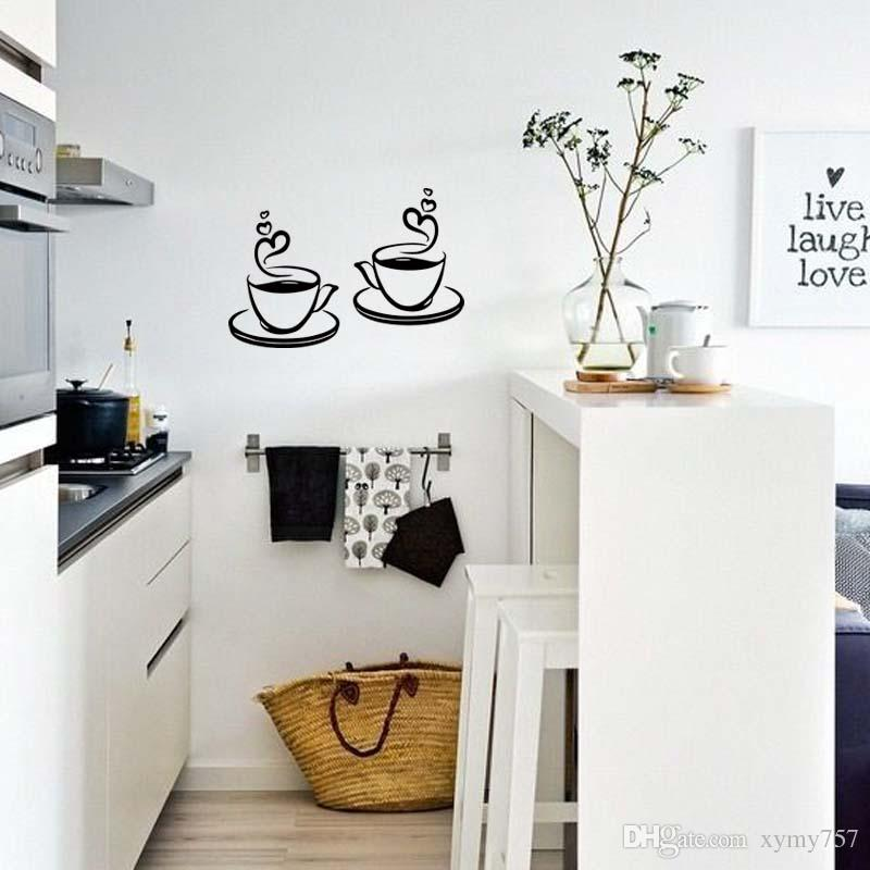Hot Sale For 2 Coffee Tea Cups Kitchen Removable Wall Stickers Cafe Personality Vinyl Art Decals Diy Decor
