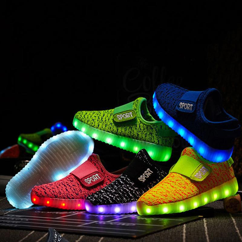 c164a2d2665 Light Up Led Luminous Kids Shoes Glowing Casual Fashion Boy With New  Simulation Sole Charge For ...