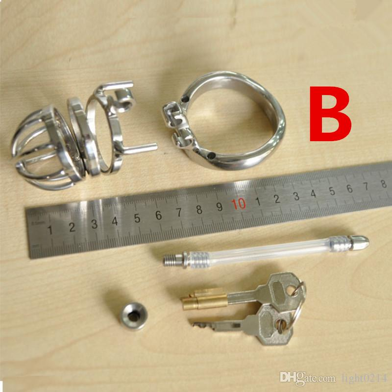 Chastity Cage Bondage Gear Urethral Catheter Cock Cage Male Chastity Device Stainless Steel Chastity Penis Cage for Man G7-1-200