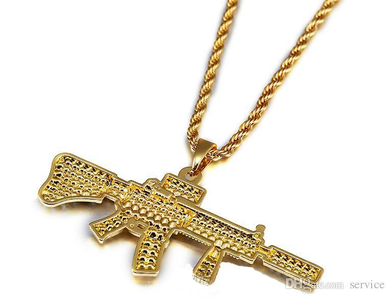 Wholesale 18k Gold Plated Rapper M4 Submachellone Gun Pendant Necklace 75cm  Gold Color HIPHOP New York Men'S Pendant Necklaces 2017 July Style Heart
