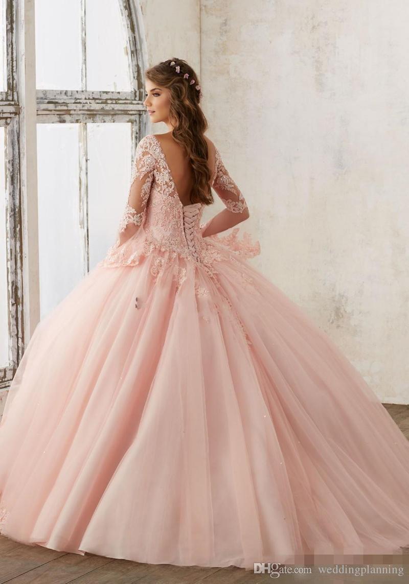 Bebek Pembe Mavi Quinceanera Elbiseler 2017 Dantel Uzun Kollu V Yaka Maskeli Balo Elbiseler Kızlar Için Tatlı 16 Prenses Pageant Elbise ucuz