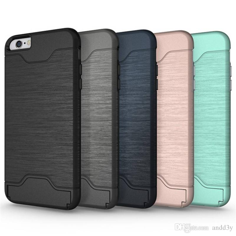 online store 773d1 caf6b For iPhone 7 Plus Case Note 7 Card Slot Case Card Pocket Hybrid Armor  Brushed Cover With Kickstand Galaxy Note 5 S7 Edge