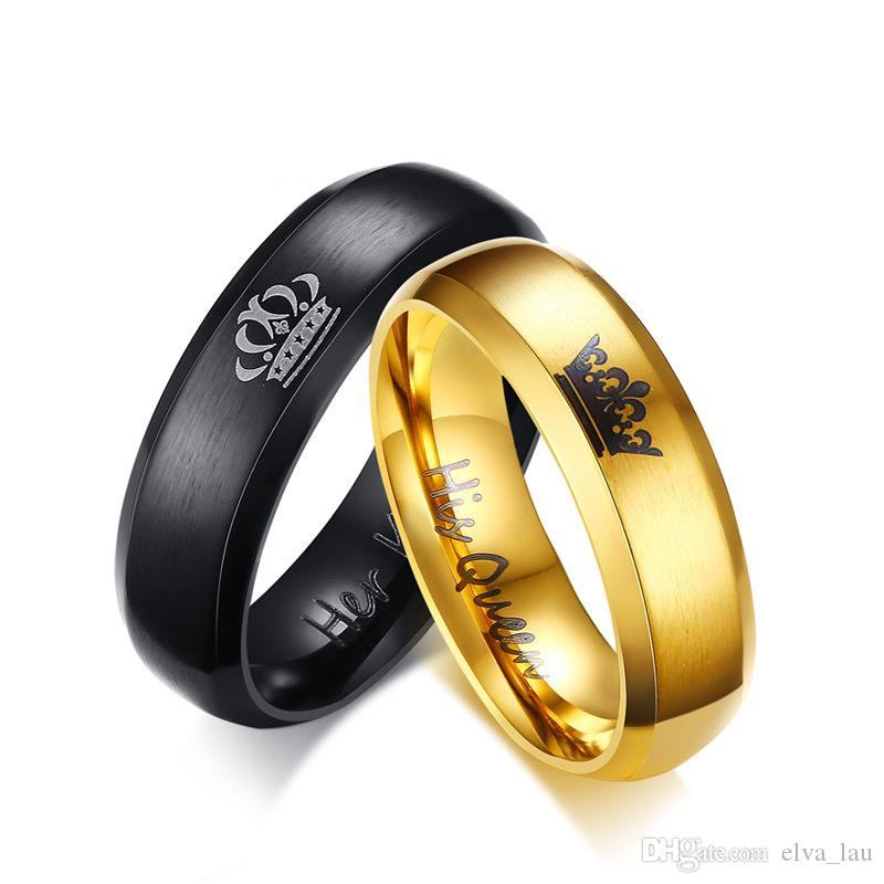 2019 Wholesale Stainless Steel Couple Wedding Bands Rings Unique