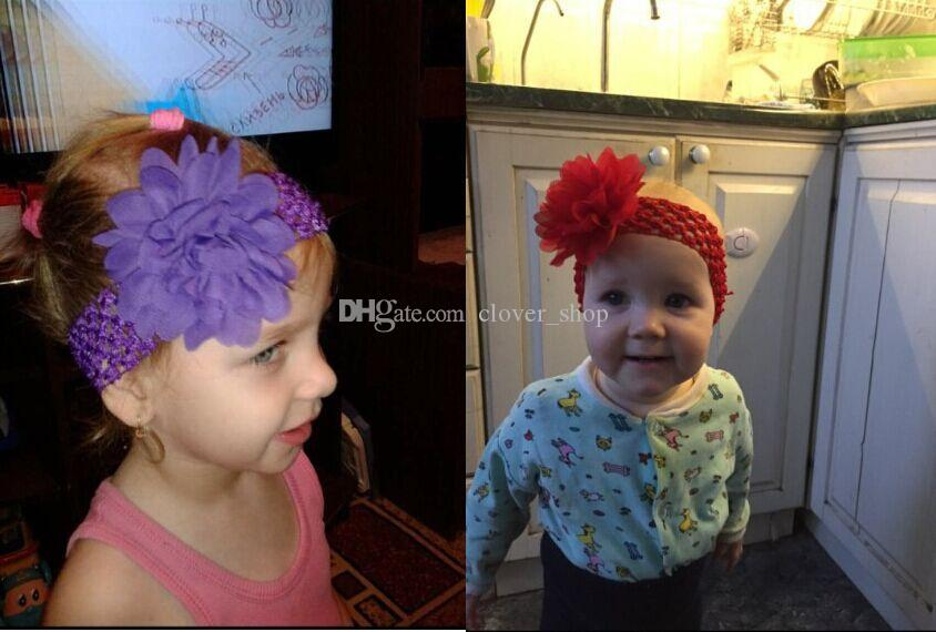 Couvre-chef bébé capitule Accessoires cheveux 4 pouces en mousseline de soie fleur avec élastique souple Crochet Bandeaux Stretchy Band cheveux