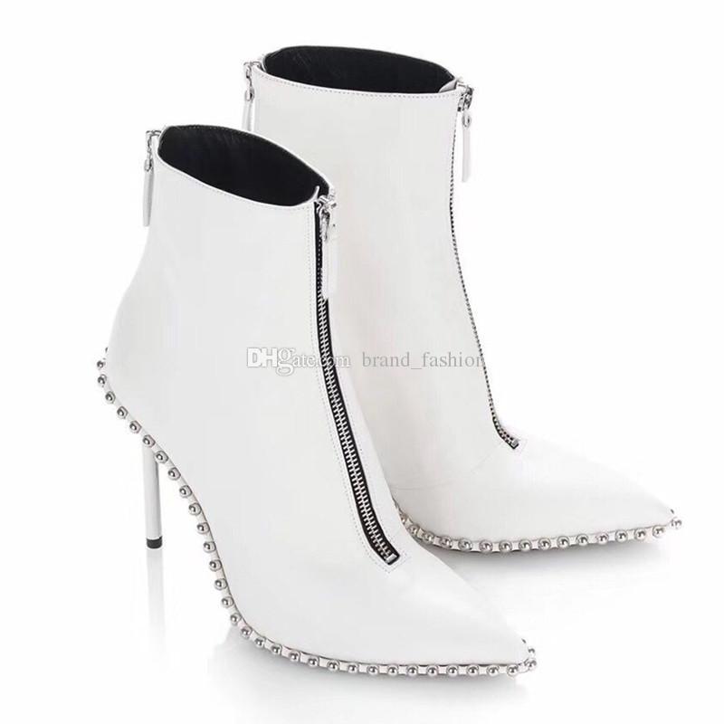 Stivaletti alla caviglia con punta a punta sexy Stivali alla moda Autunno Inverno Donna Martin
