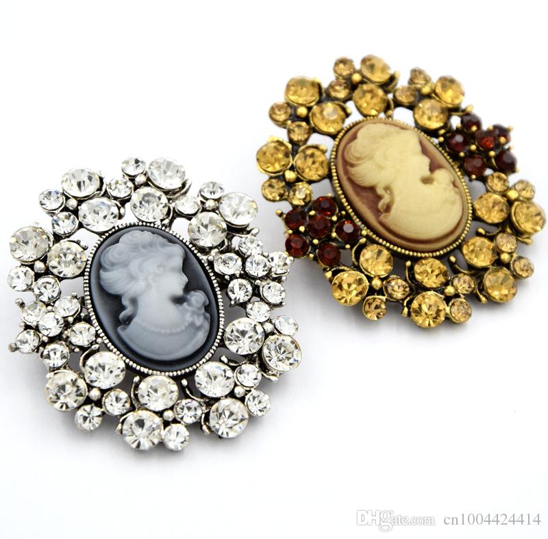 Vintage Silver And Vintage Gold Alloy Fashion Women Scarf Pin Hot Selling Crystals Victorian Queen Head Cameo Hijab Wear Pins Broaches