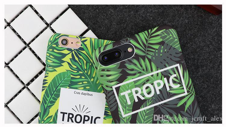 Plant Leaf Design Korea Fashion Style Mobile Phone Cover For Iphone6/6s/7/plus Ultrathin Waterproof Iphone7plus Back Case PC Protector