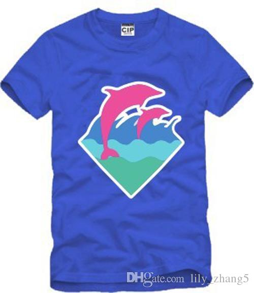 S-3XL new arrival high quality men women T shirt pink dolphin clothing hip hop t-shirts dolphin print t-shirt cotton