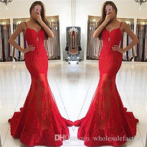 Vermelho Cintas de Espaguete Sereia Vestidos de Baile Querida Ver Através Saias Vestidos de Noite Com Apliques de Renda robes de bal 2017 Queda