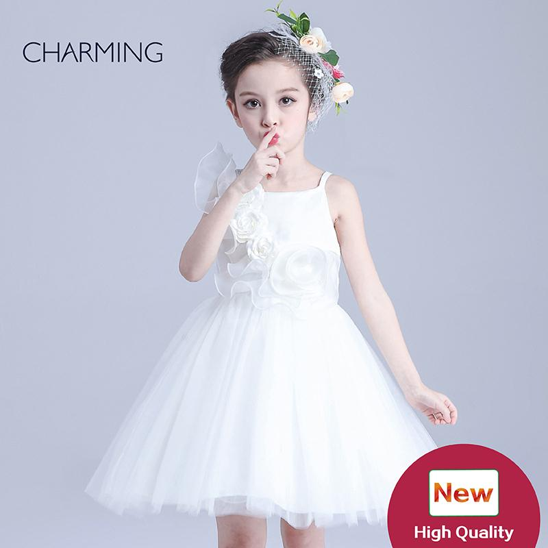 9c6a6470e937 Flower Girl Dress Girls Sundresses Designer Girls Dresses White Flower Girl  Dresses Short Skirt Tutu Style Dress Sleeveless Organza Fabric Little Girl  ...