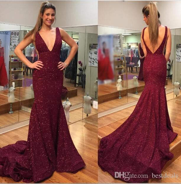16c39312828d 2017 Sexy Burgundy Wine Red Mermaid Prom Dresses Deep V Neck Sequins Lace  Backless Long Prom Gowns Vestido De Festa Canada 2019 From Bestdeals, ...