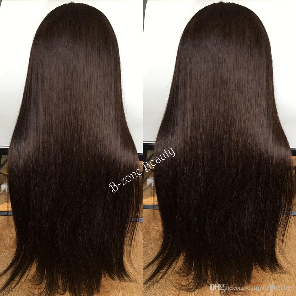 Lace Front Human Hair Wigs Dark Brown Peruvian Virgin Hair Silky Straight Full Lace Human Hair Wigs For Black Women