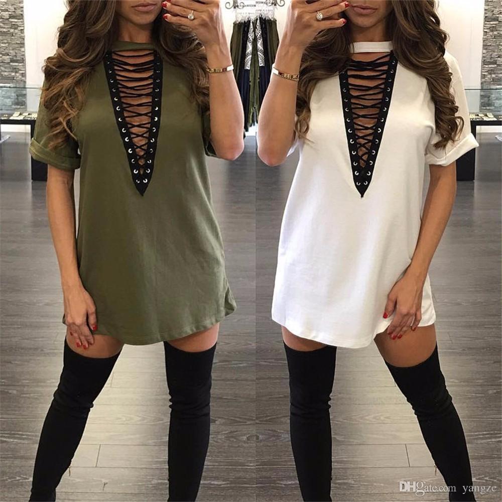 Горячие продажи платья для женщин одежда мода с длинным рукавом осень повседневная свободные V шеи футболка плюс размер Dress S M L XL QZ957
