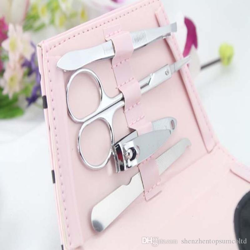 edding gunst roze polka dot portemonnee manicure set bruids douche gunst geschenken bruiloft gunst / gratis verzending
