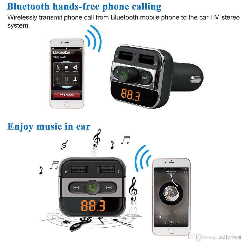 Doppia porta USB Caricabatterie auto Trasmettitori FM Bluetooth Vivavoce Telefono Chiamata Kit auto Lettore MP3 con slot schede TF