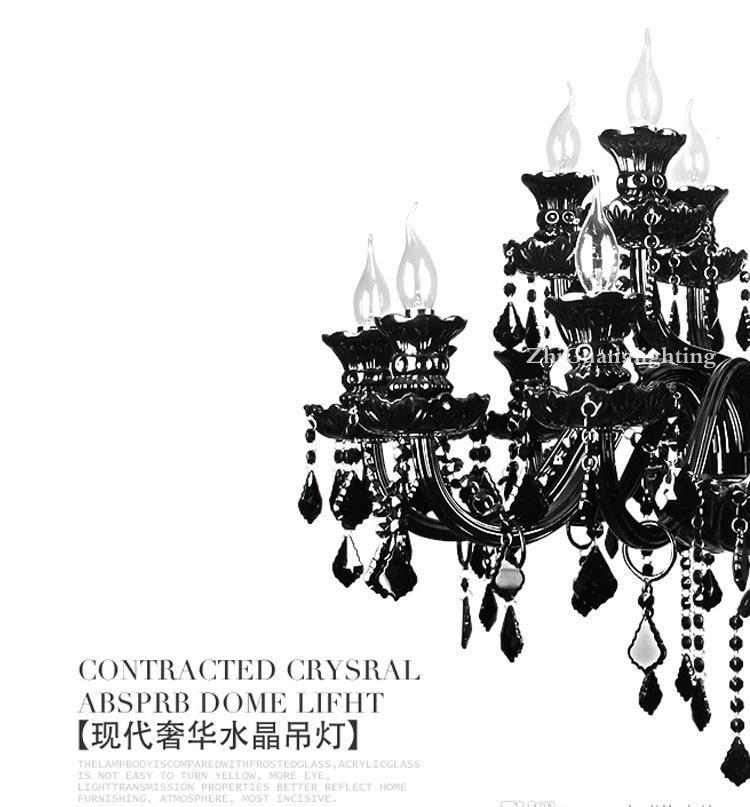 Amerikan Chandelie aydınlatma Siyah kristal avize Avrupa tarzı oturma odası lamba, modern minimalist yatak odası yemek odası lamba villa mum