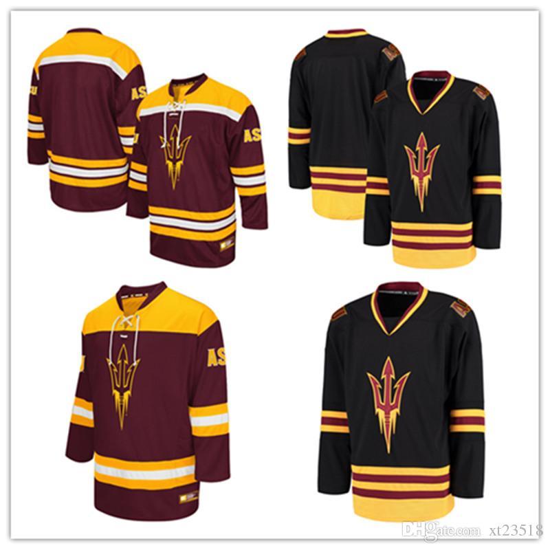2018 Mens Black Ncaa Arizona State Sun Devils College Hockey Jerseys Maroon  Embroidery Stitched Blank Asu Sun Devils Jersey S 3xl From Xt23518, ...