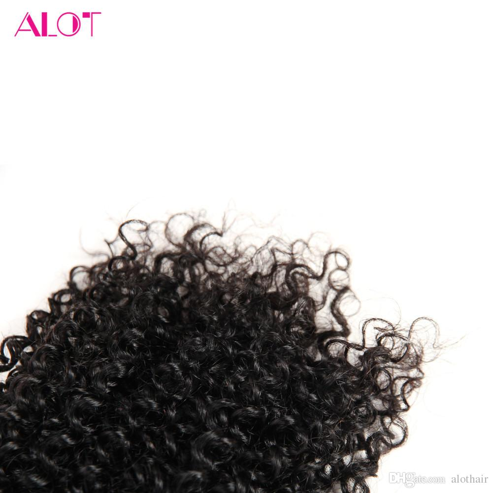 ALOT Grade 8A Brazilian Virgin Human Hair Bundles Kinky Curly Hair 3 Bundles with Lace Closures 100% Unprocessed Human Hair Extensions