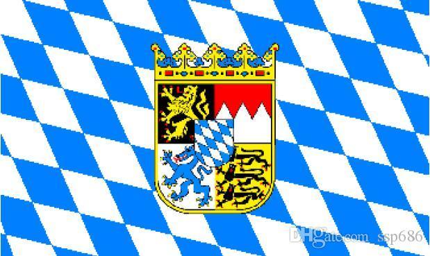 Allemagne Bavière avec manteau de drapeau de bras 3ft x 5 pi Polyester Flying Banner 150 * 90cm extérieur de drapeau personnalisé
