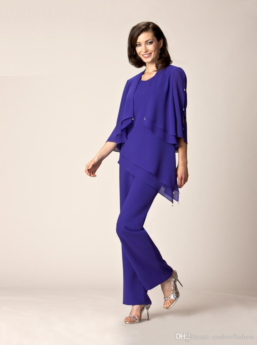 Royal Blue Mother Of The Bride Pant Suits Summer Formal Prom Dresses