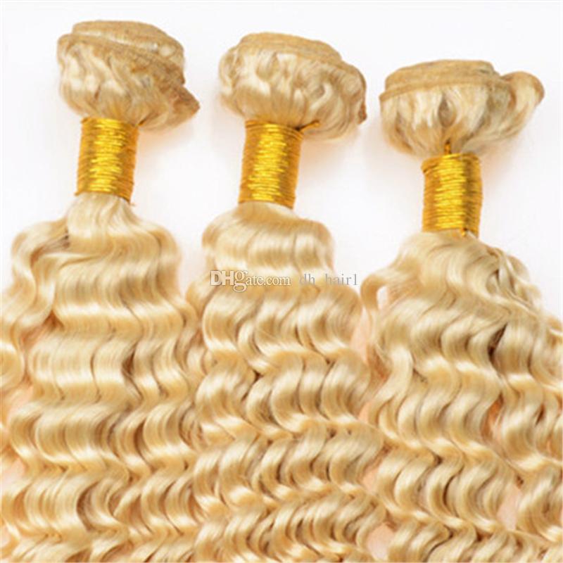 Brasilianisches blondes reines Haar 3 bündelt tiefe Wellen-Menschenhaar-Erweiterungen viel reine # 613 blondes Haar spinnt Dhl-freies