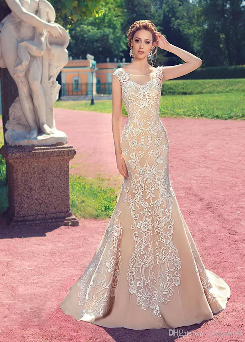 Sexy Backless Lace Mermaid Wedding Dresses 2017 With Appliques Scoop ...