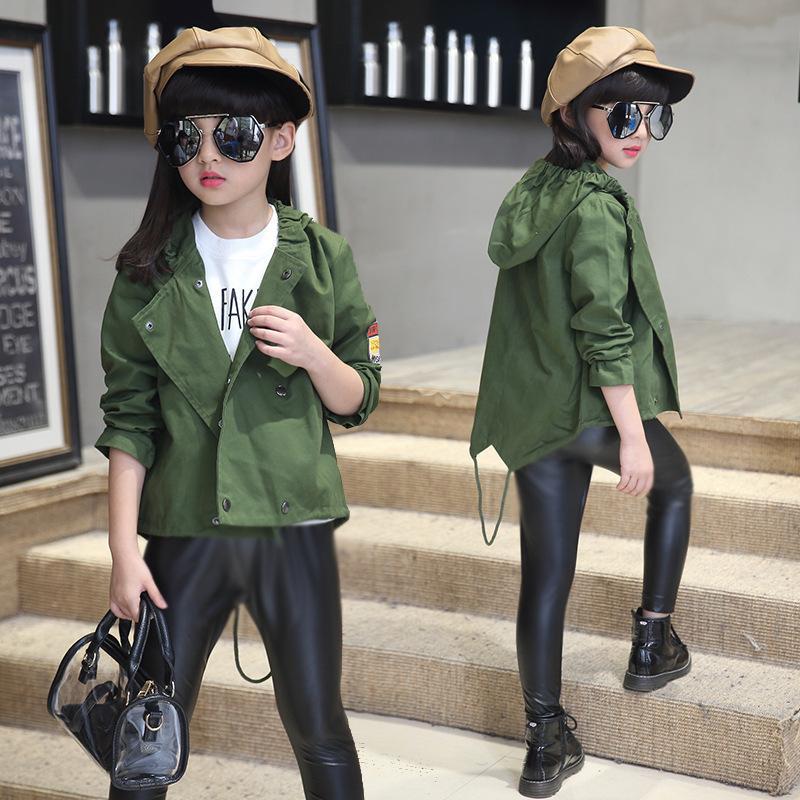 Girls Hooded Jacket Autumn 2017 Kids Army Green Coat Outerwear ...