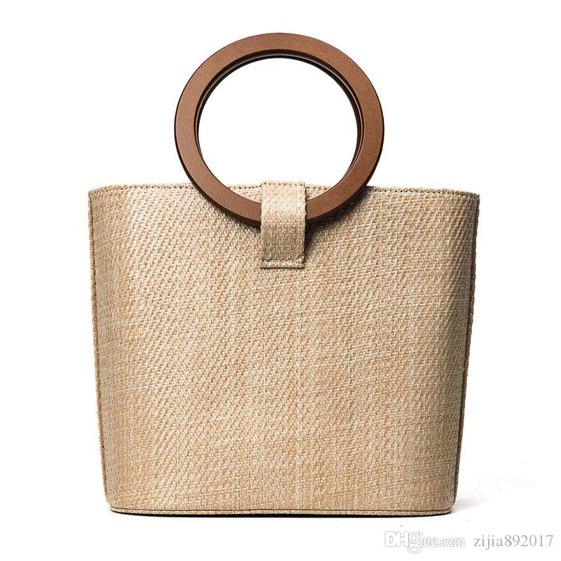 2017 Big Straw Handbags for Women Ring Handle New Design Beach Bag ... 2ca2322410b79