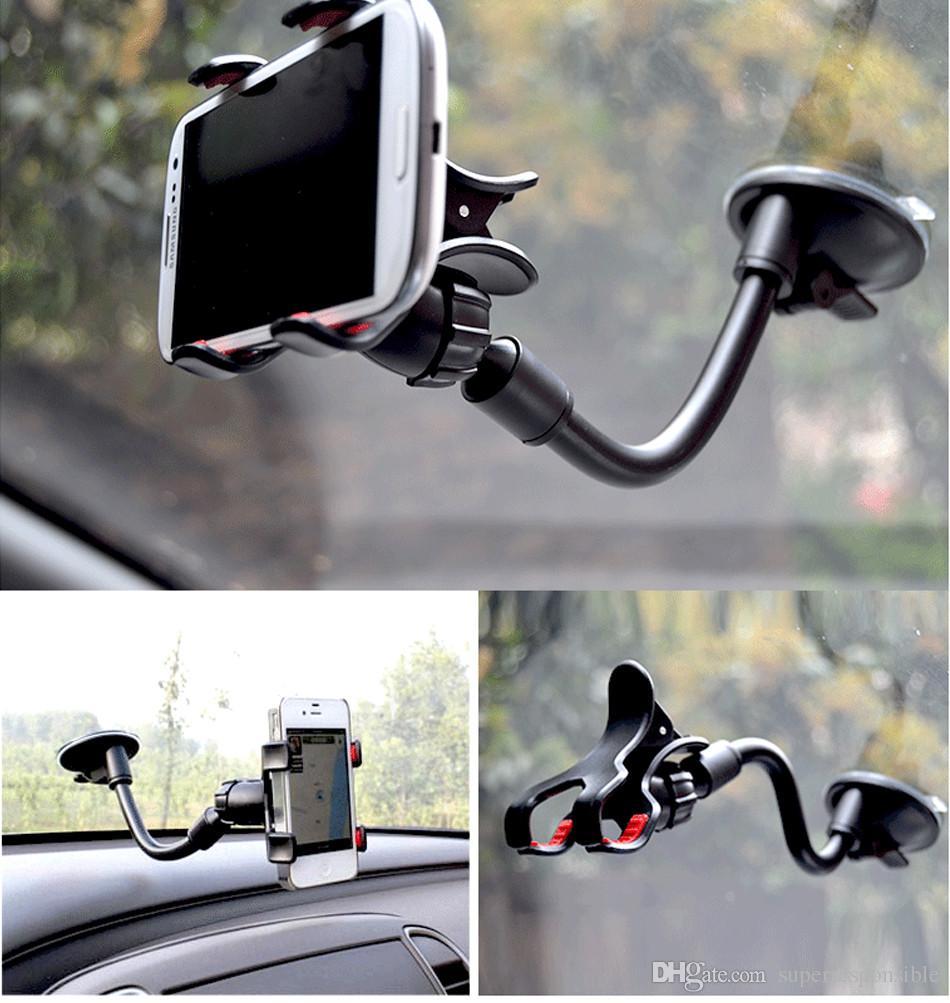 Vitog iPhone 6 / 6S Doppia clip montaggio auto, di facile utilizzo-universale Long Arm / collo 360 ° di rotazione supporto del parabrezza del telefono -Retail pacchetto