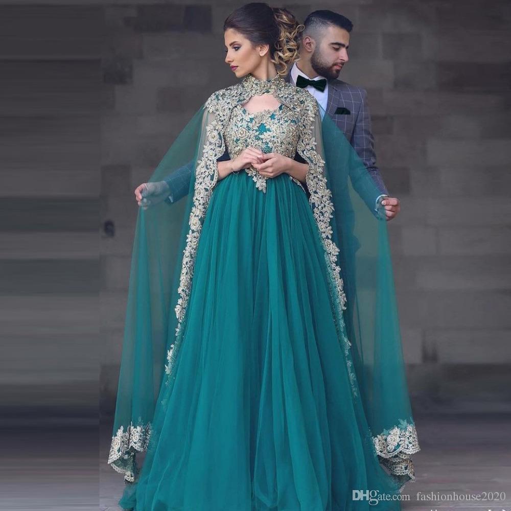 a1a978ca662b Acquista 2018 Hunter Verde Arabo Musulmano Abiti Da Sera Maniche Lunghe  Appliques Due Pezzi Con Avvolgere Il Vestito Da Promenade Formale Plus Size  Dubai ...
