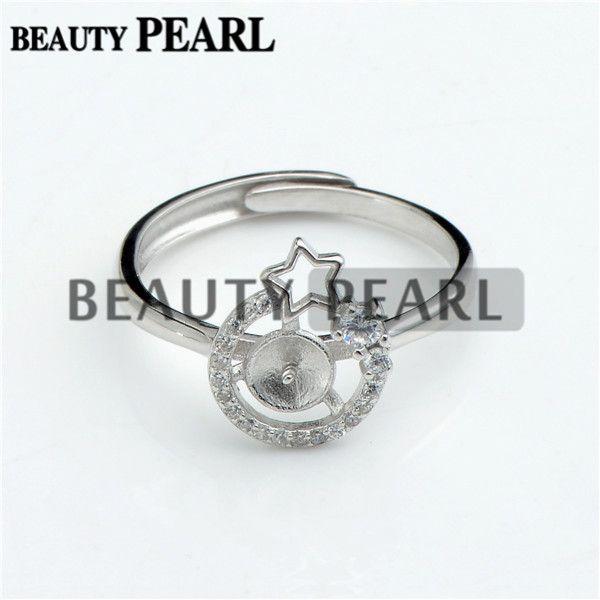 Configuraciones de anillos en estrella 925 espacios de plata esterlina Anillo de circonio cúbico Semi montaje para perla 5 piezas