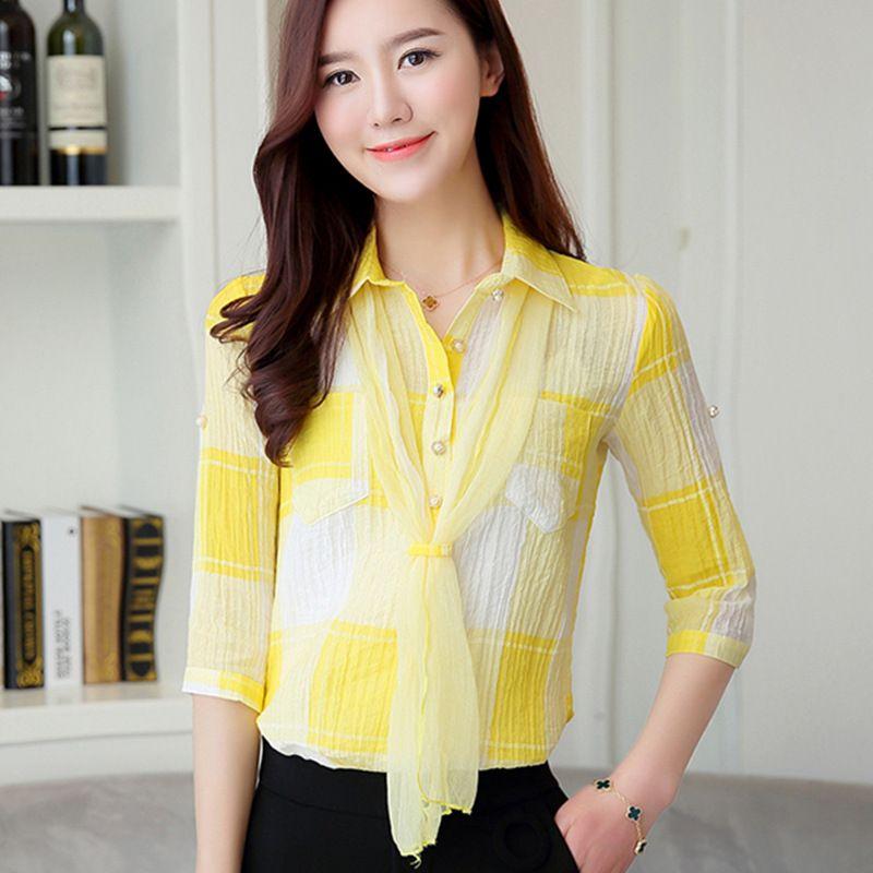2017 2017 Office Women Shirts Blouses Elegant Plaid Ladies Chiffon ...