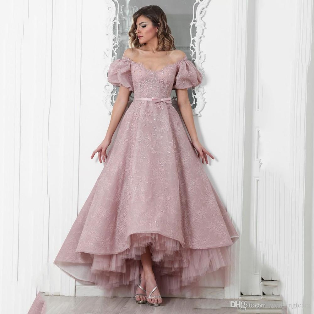 Sexy tiefe High Low Ball-Kleid Abendkleider V-Ausschnitt Backless Kurze Ärmeln Spitze mit Bogenschärpe Abend Patty Kleid