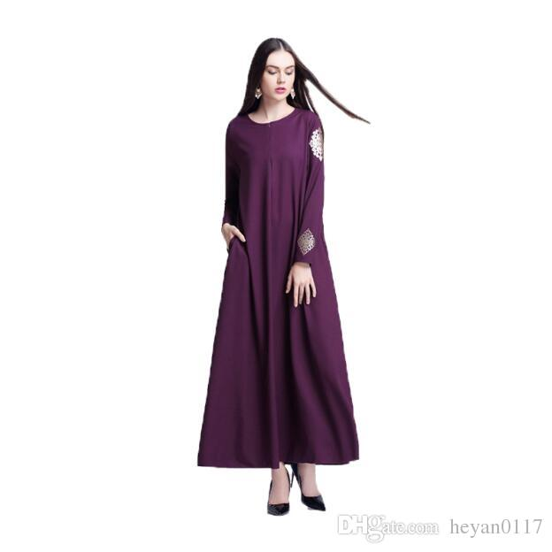 Women Pattern Abaya Casual Muslim Print Gown Dress Arab Robes Islamic Maxi Long Dresses Dubai Instant Hijab Indian Vestido