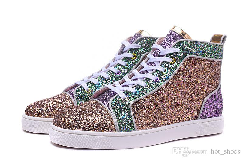 High Top 2018 New Fashion Luxury Mens Womens Designer Shoes Multicolored Glitter  Red Bottoms For Men Women Pink Purple Skate Sneakers Mens Boots Moccasins  ... 0ab1899c40f9