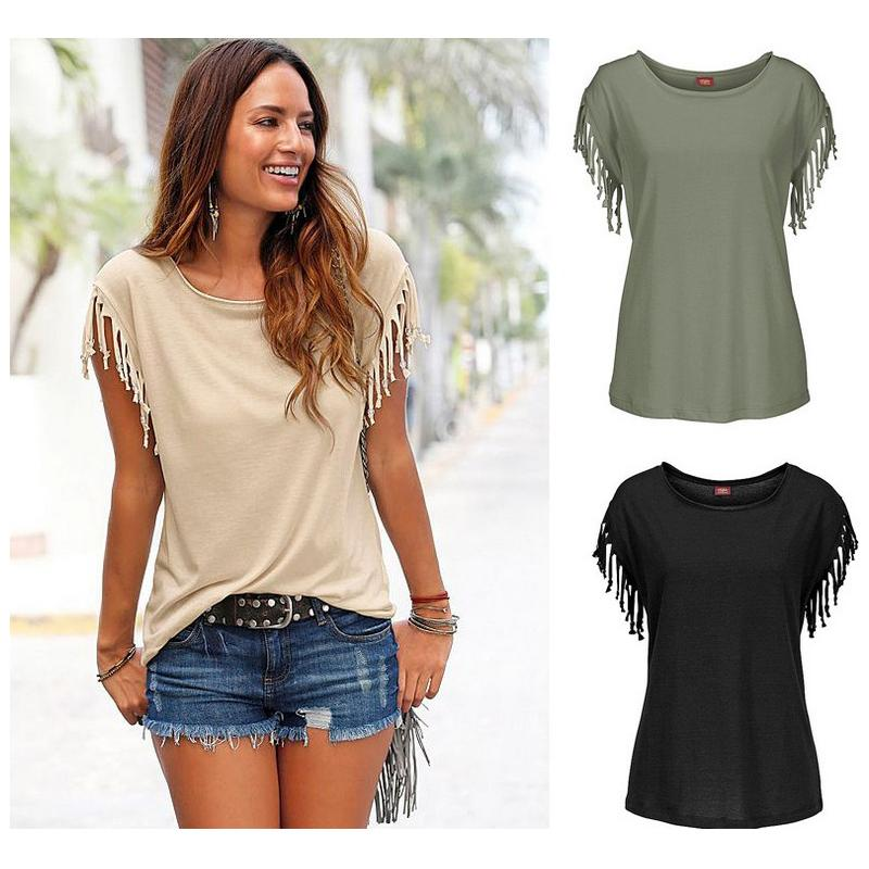 21b898ca8ac Wholesale- New Women Shirts Short Sleeve Shirt Summer Cotton Tassel ...