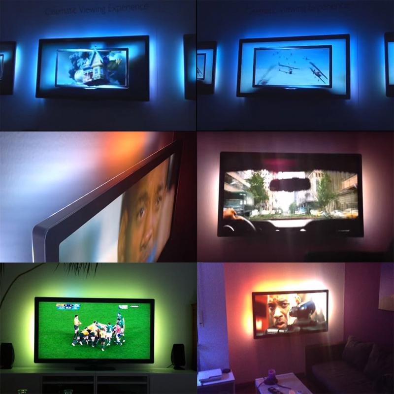 FAI DA TE 5050 RGB LED Striscia Impermeabile DC 5 V USB LED Light Strips Nastro Flessibile 50 CM 1 M 2 M 3 M 4 M 5 M Aggiungi Telecomando TV Sfondo
