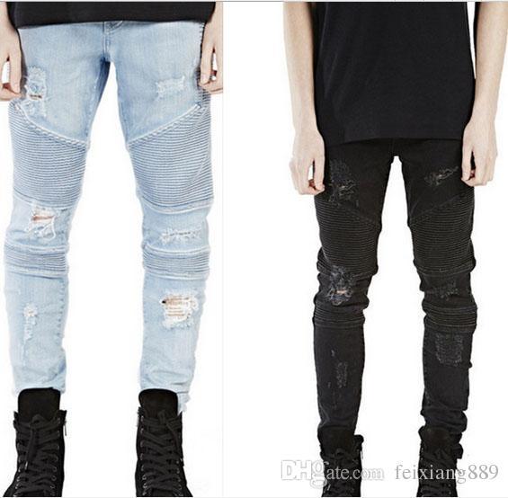 Gros-représentant vêtements pantalons de designer slp bleu / noir détruit hommes denim slim motard droit jeans skinny hommes déchirés jeans 28-40