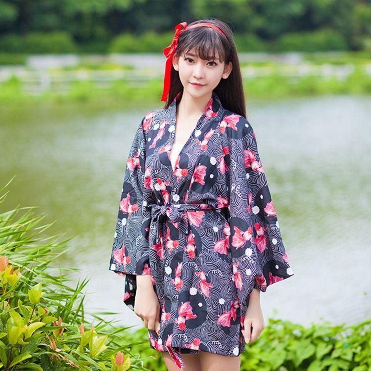 01aaa948e3496 Acheter Gros Japonais Yukata Kimono Femmes Starry Floral Imprimé À Manches  Courtes Cardigans Femmes Nuit Robes Sexy Femmes Satin Peignoir 041803 De   34.49 ...