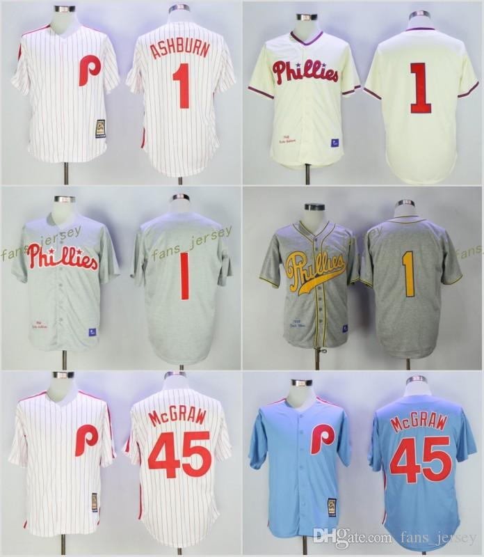 8ccee5204cb ... Philadelphia Phillies 1 Richie Ashburn 45 Tug Mcgraw Baseball Jersey  Throwback White Cream Grey Blue Cool .