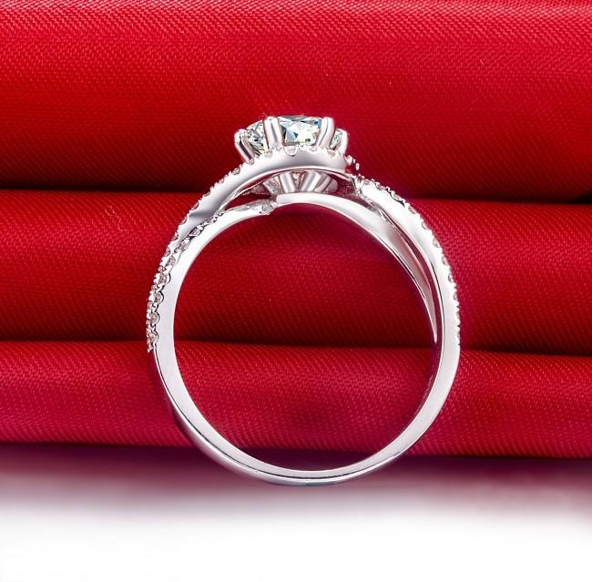1 Ct Waves Shape Wedding SONA Synthetic Diamond Engagement Ring For Women Bridal Jewelry Pt950 Stamped 925 Silver Semi Mounting