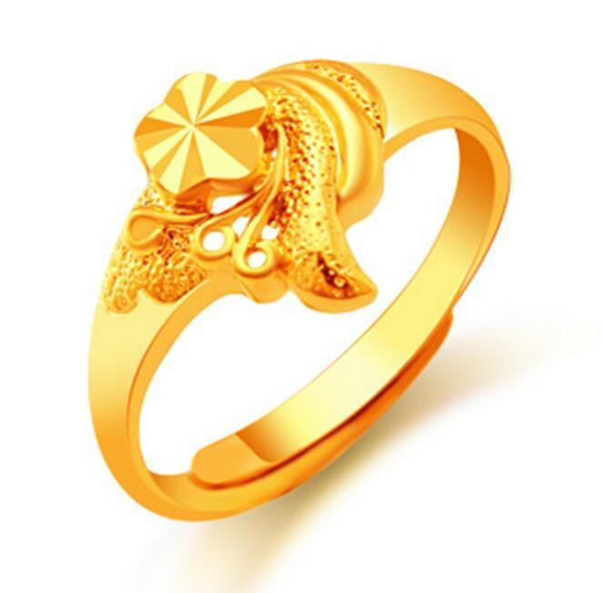 2018 Wholesale 24k Gold Flower Rings For Women Gold Plated Dubai