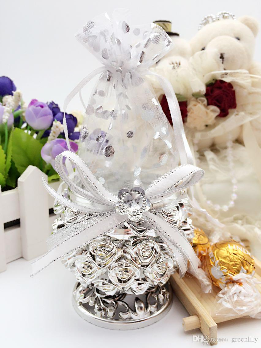 Ornate Wedding Favor Candy Tins With Rhinestone Ribbon Rose Polka ...