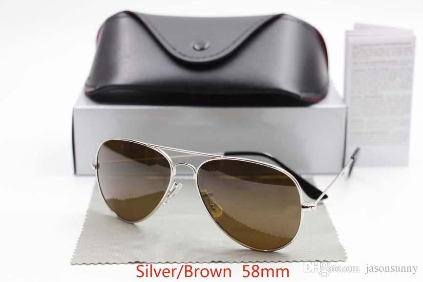 Designer Classic Sunglasses Mens Womens Sun Glasses Gold Frame Black 58mm Glass Lenses Large Metal Brown Case Excellent Quality