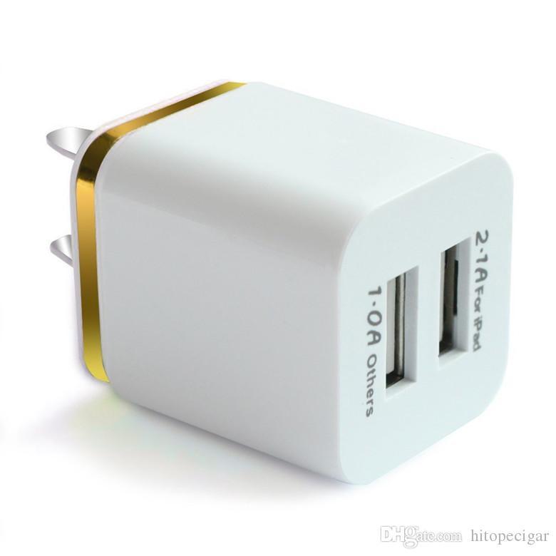 Metal Çift USB duvar Şarj Şarj ABD, AB Tak 2.1A AC Güç Adaptörü Duvar Şarj Tak 2 port Iphone Samsung Galaxy Not LG Tablet Ipad