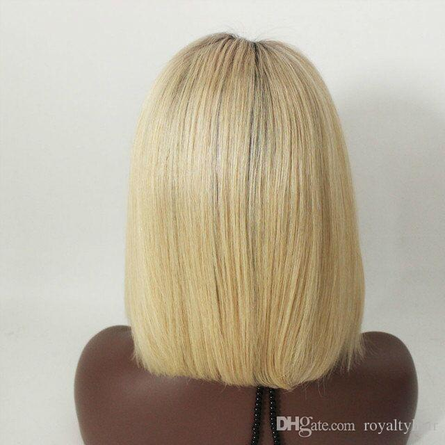 short ombre glueless full lace human hair wigs two tone peruvian blonde dark root human hair ombre lace front wig