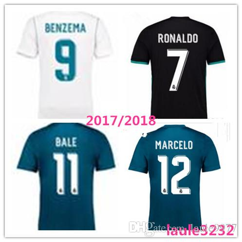 TOP QUALITY 2017 2018 Real Madrid Home Away Third Soccer Jerseys 17 18 Real  Madrid RONALDO BENZEMA JAMES BALE ASENSIO KROOS ISCO Shirt 2017 2018 Online  with ...