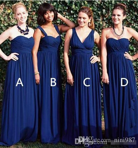 3 Stilleri Lacivert Gelinlik Modelleri Şifon Kat Uzunluk Uzun Onur Hizmetçi Düğün Konuk Elbiseler Özel Elbiseler Yaz Plaj Törenlerinde