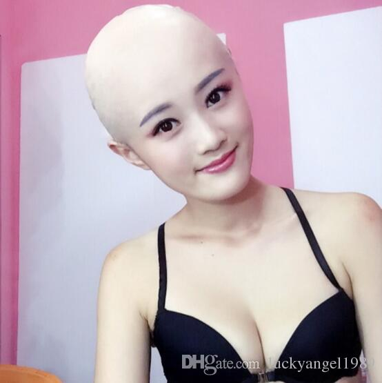 New human mask crossdress silicone female unisex head mask halloween cosplay without hair latex bareheaded monk head mask