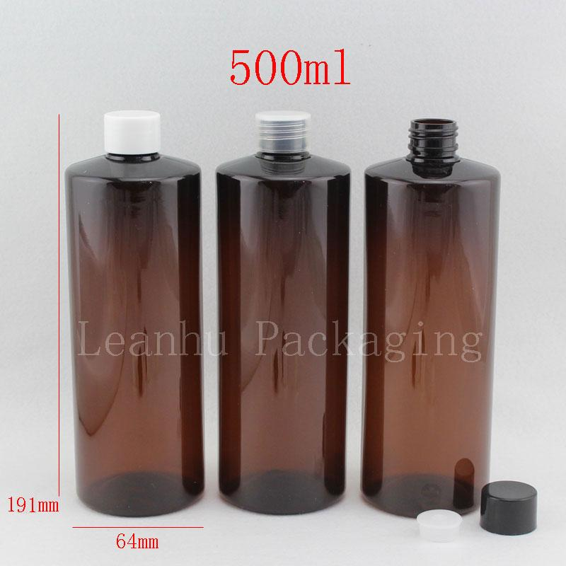500ml X 12 Brown Empty Lotion Cream Plastic Container Bottle With Screw Cap  500cc Shower Gel , Shampoo , Liquid Soap Bottles Decorative Glass Perfume  ...